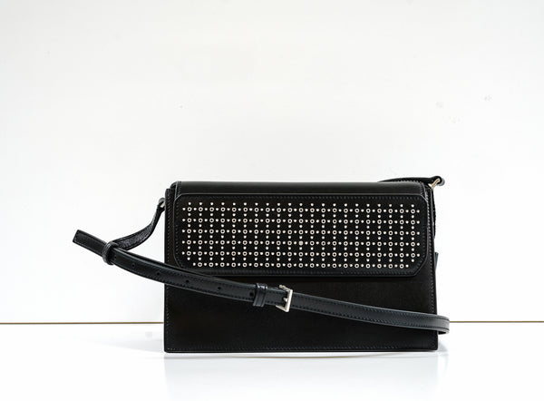 Saint Laurent Black Leather Studded Catherine Shoulder Bag
