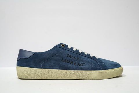 Saint Laurent Men's Denim Suede Logo Sneakers 498209