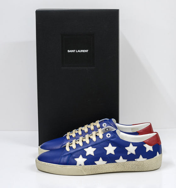 Saint Laurent Men's Leather Blue Court Classic Sneakers 549539