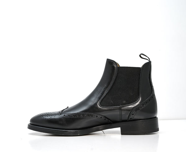 Stefano Stefani Men's Black Leather Detail Pull On Boots 8105