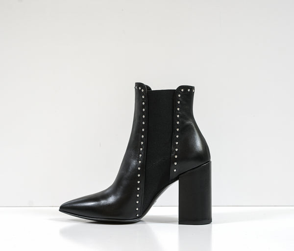 Stefano Stefani Black Leather Stud Ankle Boot 7152