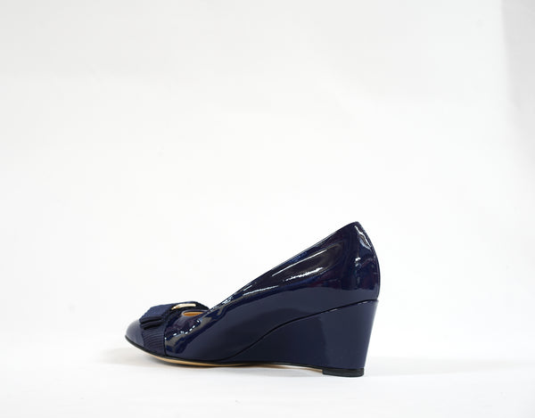 Stefano Stefani Blue Patent Wedge 1604