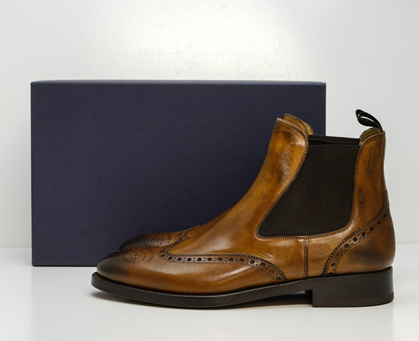 Stefano Stefani Men's Cognac Leather Detail Pull On Boots 8105