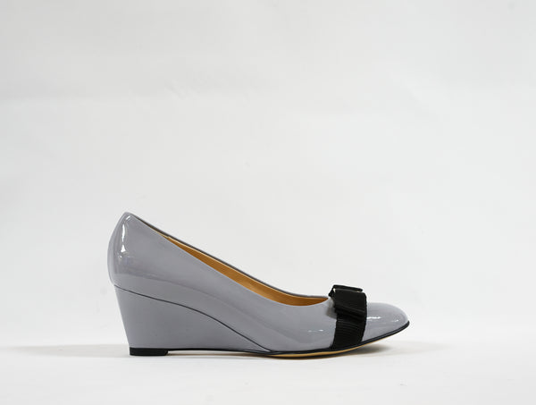 Stefano Stefani Grey Patent Wedge 1604