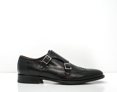 Stefano Stefani Men's Black Leather Detail Buckle Shoe 8637