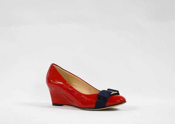 Stefano Stefani Red & Blue Patent Wedge 1604