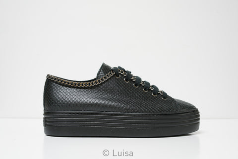 Stokton Black Chain Printed Leather Sneaker 500-D