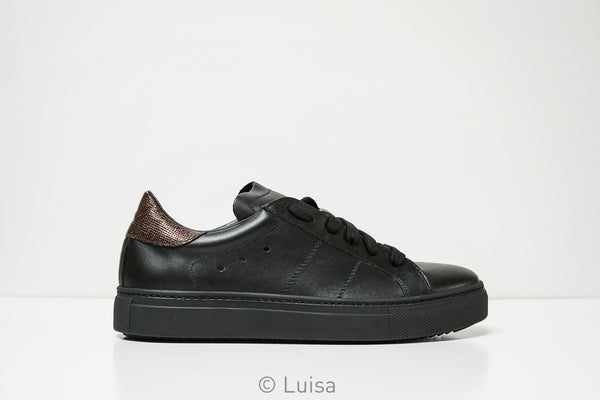 Stokton Black Leather Sneaker 350-D