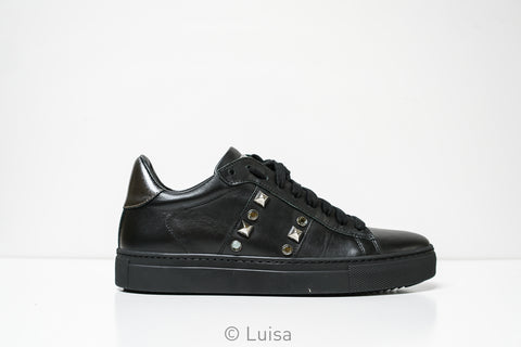 Stokton Black Leather Stud Sneaker 678-D
