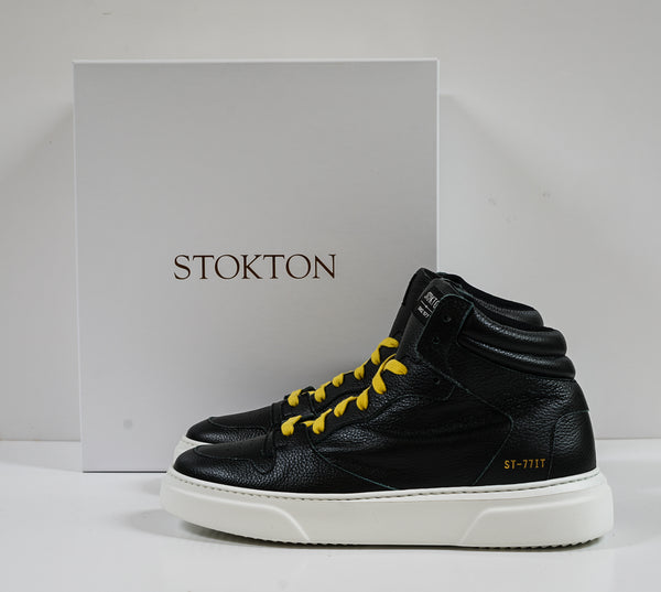 Stokton Men's Black Leather Hitop 456-U