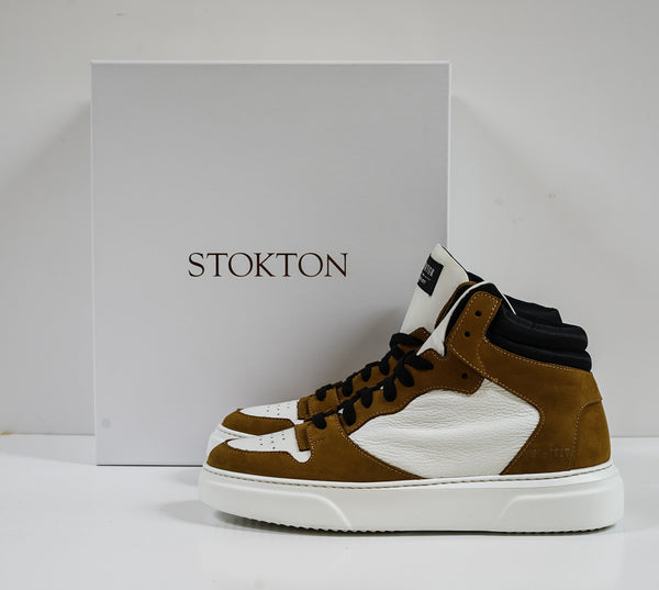 Stokton Men's White & Tan Leather Hitop 456-U