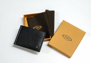 Tod's Men's Black Leather Clip Wallet XAMLEO2300
