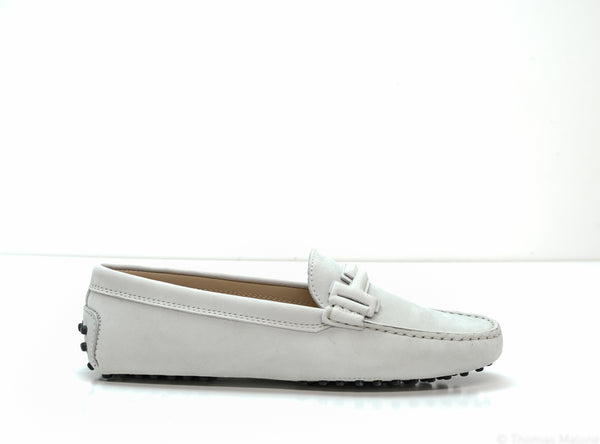 Tod's Women's Ice Grey Suede Moccasin 5IP