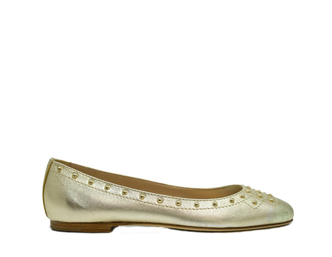 Tod's Ladies Gold Leather Ballerina Shoe 92A0Y31