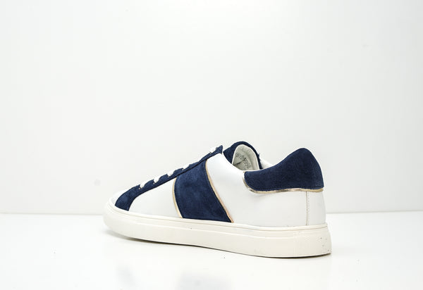 Trussardi Men's White, Blue & Gold Leather Sneakers W765