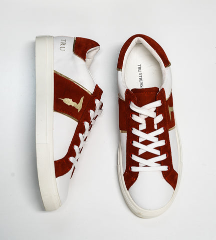 Trussardi Men's Red, Gold & White Sneakers U767
