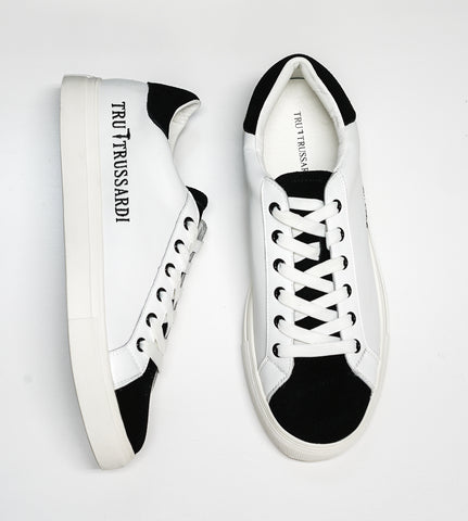 Trussardi Men's White & Black Leather Sneakers W750