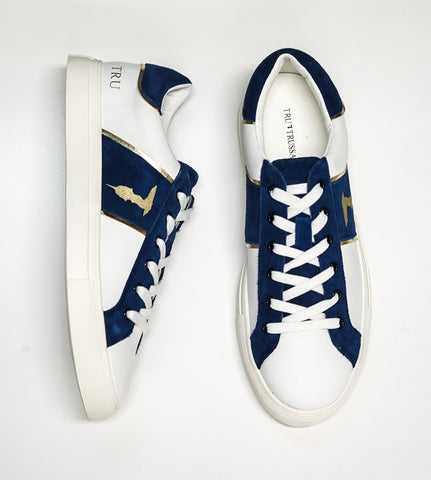 Trussardi Men's White, Blue & Gold Sneakers W765