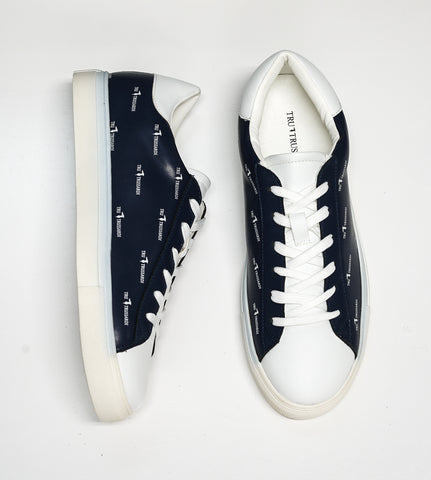 Trussardi Men's Navy Logo Leather Sneakers U607