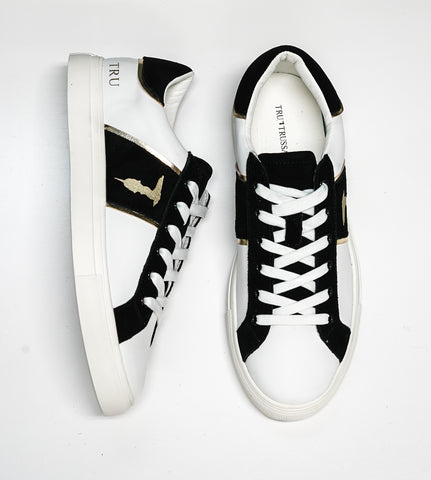 Trussardi Men's White, Black & Gold Sneakers W766