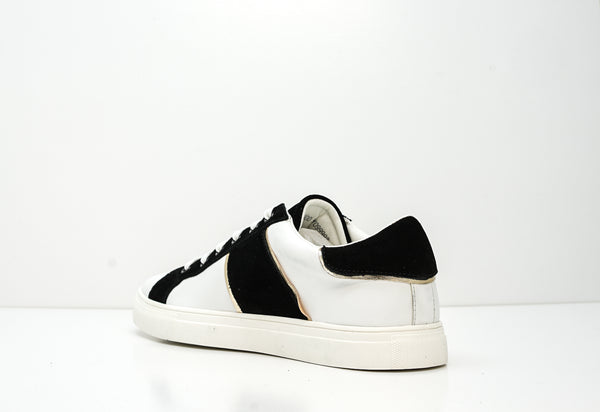 Trussardi Men's White, Black & Gold Leather Sneakers W766