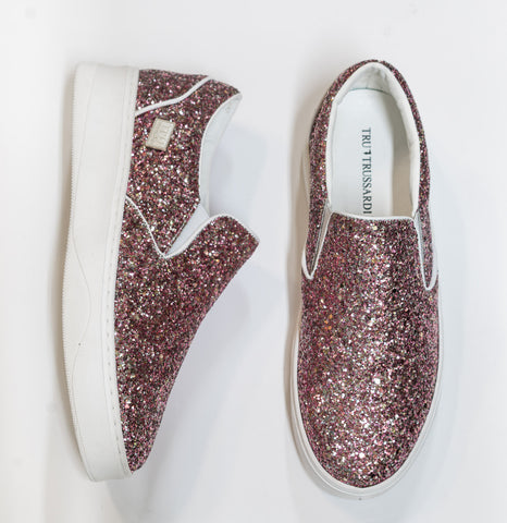 Trussardi Women's Pink Glitter Slip on Sneakers 28A