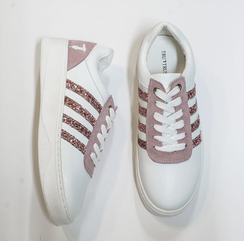 Trussardi Women's White & Pink Sneakers 28A
