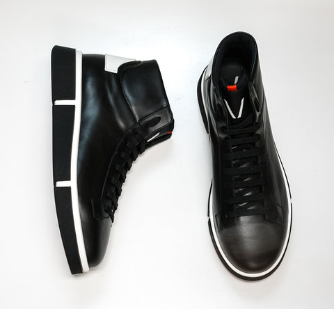 V Design Men's Black Leather High Top Sneaker Radical Man HIC0N2