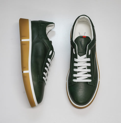 V Design Men's Green Leather Sneaker Radical Man SMA6