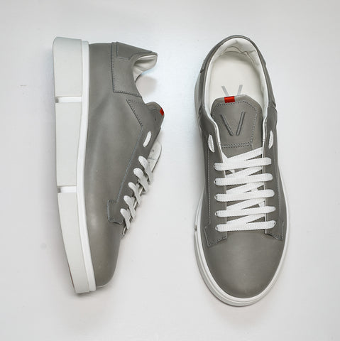 V Design Men's Grey Leather Sneaker Radical Man SMA3