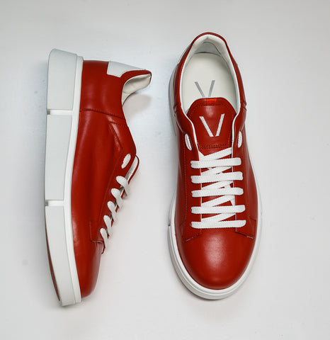 V Design Men's Red Leather Sneaker Active Man SMA02