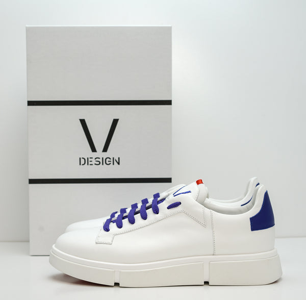 V Design Men's White & Purple/Blue Leather Sneaker Active Man SMA06