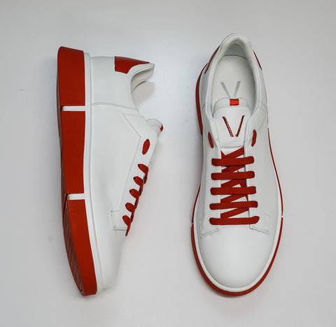 V Design Men's White & Red Leather Sneaker Active Man SMA05