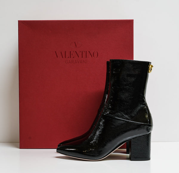 Valentino Black Textured Patent Leather Ankle Boot 0S0S61