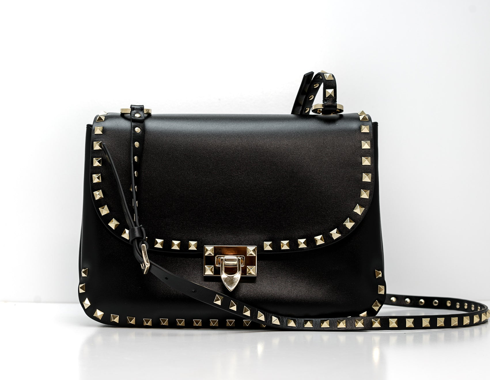 Valentino Black Stud Bag F11XVJ Medium