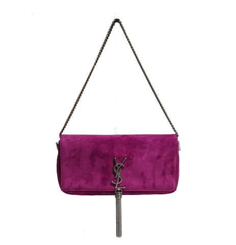Saint Laurent Fuchsia Suede Shoulder Bag Kate 99 Aved Tassel