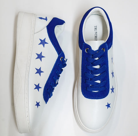 Trussardi Women's White & Blue Star Sneakers 28A