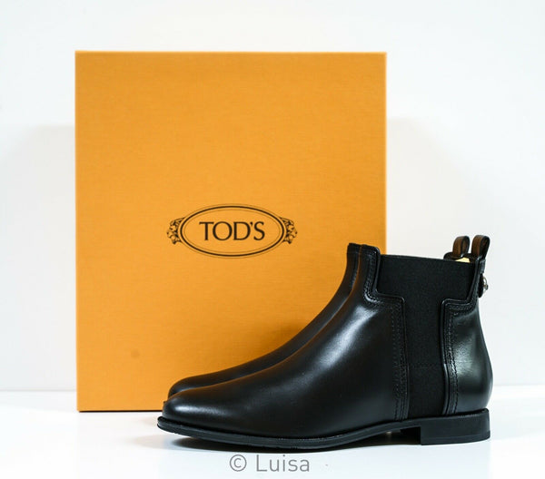 Tod's Women's Black Leather Boots Gomma W73B0BR7