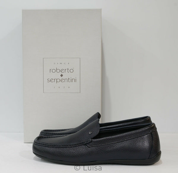 Roberto Serpentini Navy Leather Moccasin 1753