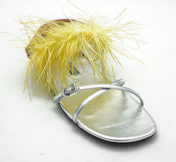 Prada Silver and Yellow Flat Sandal 1X609H