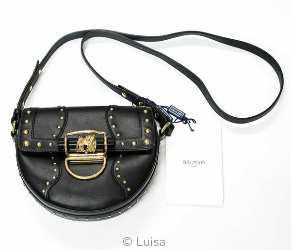 Balmain Black & Gold Stud Leather Handbag 4S202