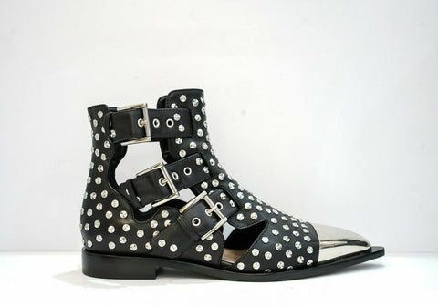 Alexander McQueen Black Studded Ankle Boot 571305