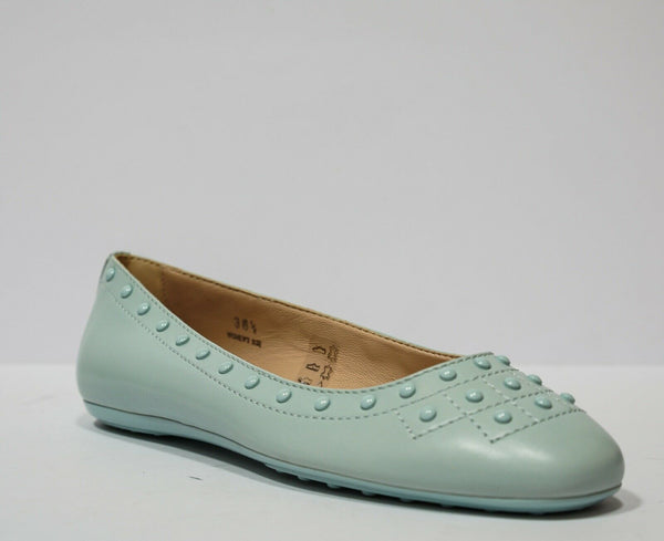 Tod's Women's Blue Leather Stud Ballerina AOY311