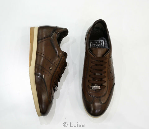 Roberto Serpentini Brown Lace Up Leather Sneaker 48311 TDM