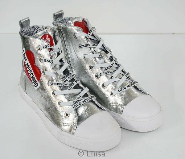 Love Moschino Ladies Silver Logo Hi Top JA15023