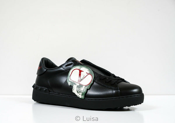 Valentino Garavani Men's Black Leather Undercover Open Sneaker SY083