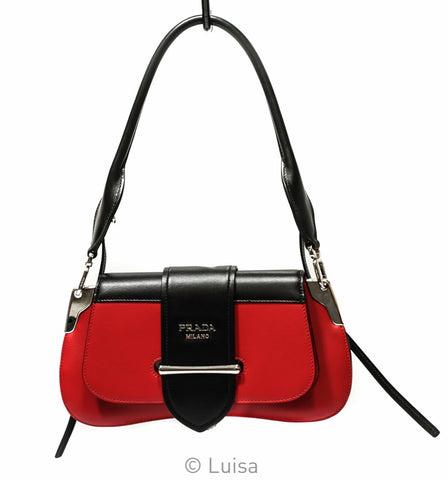 Prada Black & Red Sidonie Logo Leather Shoulder Bag 1BD168