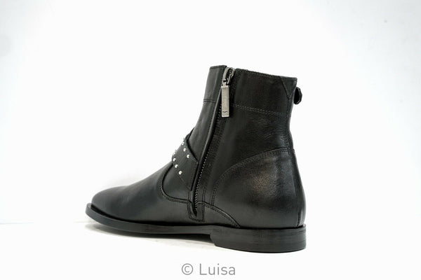 Saint Laurent Women's Black Matt 10 Buckle Ankle Boot 514185