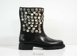 Saint Laurent Black Leather Stud Ankle Boot Motorcycle 427280