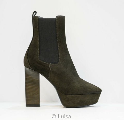 Saint Laurent Green Suede Ankle Boot Suede Soho 484799